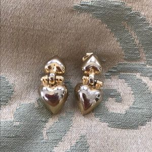 Givenchy Gold Brass Heart Clip On Earrings Jewelry